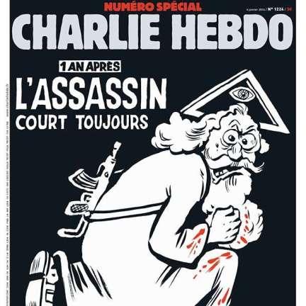 Charlie Hebdo estampa deus assassino na capa de aniversário