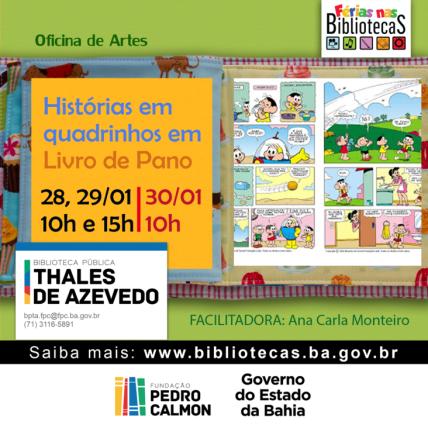 Biblioteca Thales realizará oficina de Histórias em Quadrinhos em livros de pano