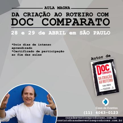 """Curso """"Da Criação ao Roteiro"""" com Doc Comparato acontece em São Paulo"""