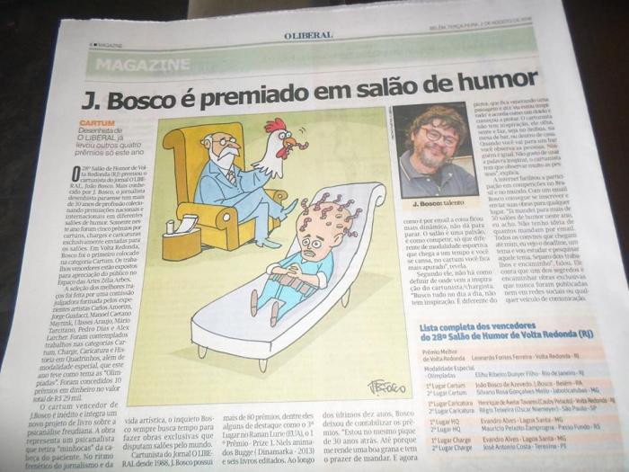 Cartunista J. Bosco é premiado em salão de humor