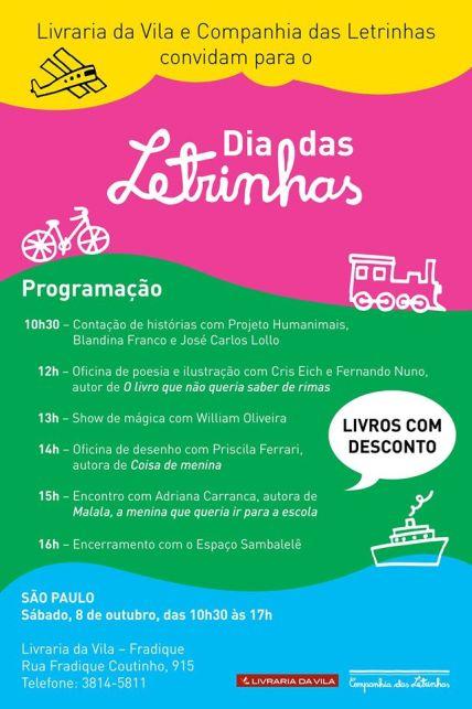 Evento | Confira a programação do Dia das Letrinhas